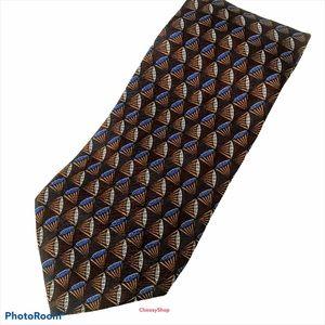 XL ZEGNA Brown Royal Blue Gray White Shells Tie